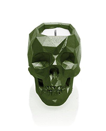 Skull Dark Green Candellana Candles Candlefort Concrete Candle Scent Lemongrass