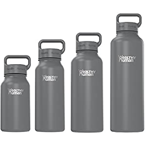 Healthy Human Stainless Steel Insulated Travel Sports Water Bottle Thermos - Leak Proof - No Sweating, Keeps Your Drink Hot & Cold - Graphite - 16 oz