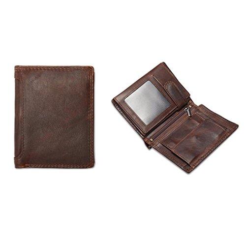 FlyHawk RFID Blocking Genuine Leather Wallets Mens Biford MiniSlim Size Wallet