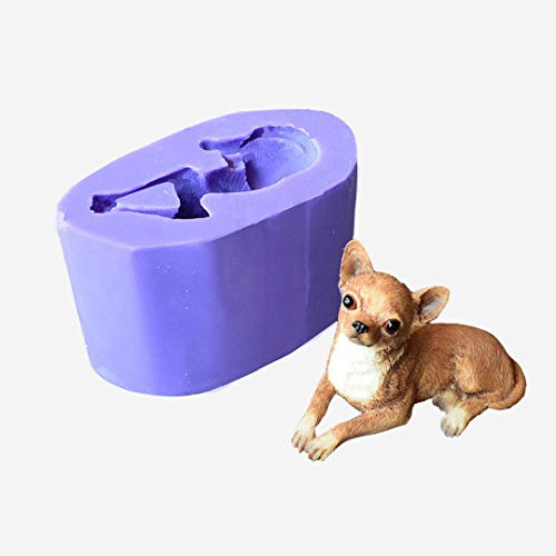 Runloo 3D Dog Molds Silicone Fondant Mousse Cake Chocolate Mold Puppy Dog Soap Mold Candle Mould ()