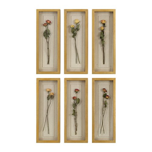 Natural Long Stem Rose Wall Art Set 6 | Shadow Box Sculpture Romantic Victorian - Designer Long Stem Roses