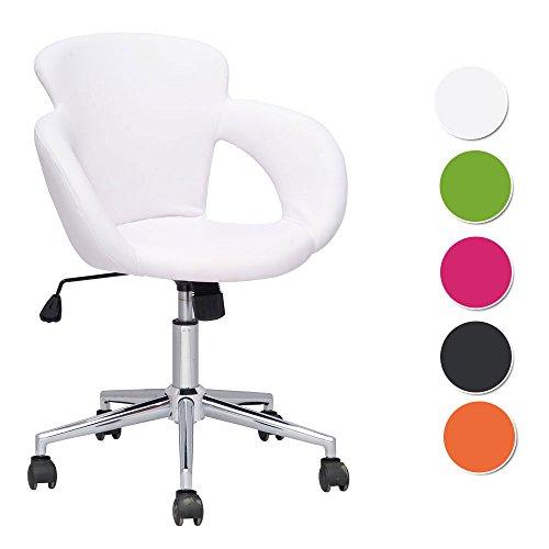 SixBros. Design Rollhocker Arbeitshocker Hocker Bürostuhl Weiß M-65335-1/725