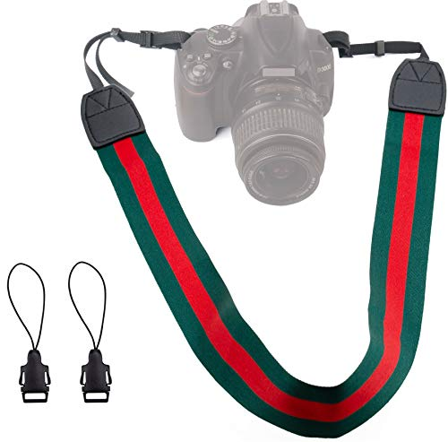 Alins Camera Shoulder Strap Fashion Universal Neck Belt for All DSLR Camera Nikon Canon Sony Pentax ect (Green and red)