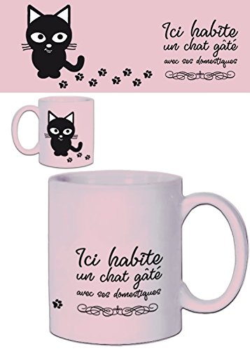 (1art1 Set: Cats, Ici Habite Un Chat Gâté Avec SES Domestiques Photo Coffee Mug (4x3 inches) and 1x Surprise Mug)