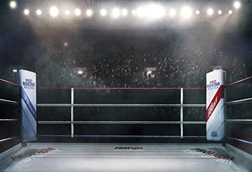 Yeele 7x5ft Pro Boxing Arena Backdrop Pro Fight Tournament Sports Stage Lighting 3D Photo Background for Photography Boys Men Portrait Photo Booth Shoot Vinyl Studio Props from Yeele