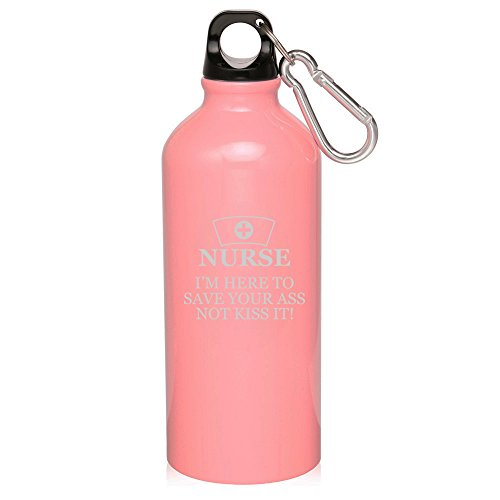 20oz Aluminum Sports Water Bottle Caribiner Clip Nurse Here To Save You (Light Pink)