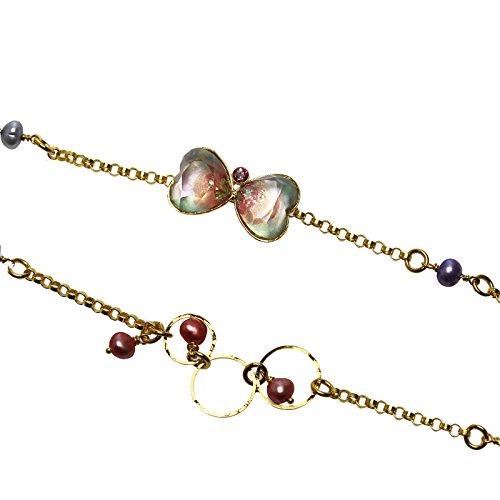 Tamarusan Glasses Chain Freshwater Pearl Heart Gold Original Resin Blue Pink by TAMARUSAN