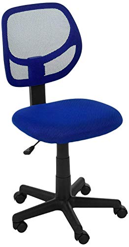 AmazonBasics Low-Back Computer Task/Desk Chair with Swivel Casters – Blue (Renewed)