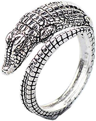 レディース ジュエリー アクセサリー レトロ カフリング ワニ 爬虫類 指輪 アンティークシルバー
