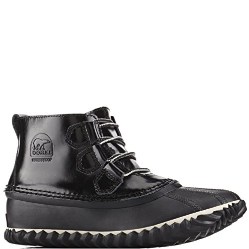 Sorel Womens Out N About Waterproof Winter Leather Ankle Patent Boots - Black - 8