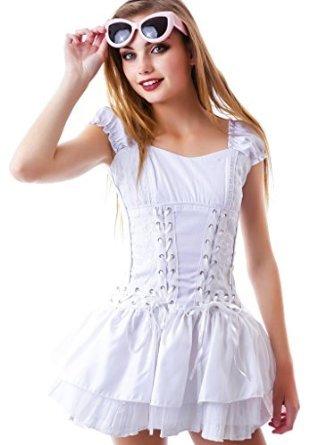 Tripp Women's Brocade Doll Lace Corset Gothic Princess Dress (23-25 (White Goth Dress)