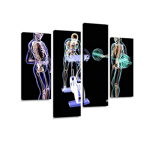 X-Ray Fitness Training Canvas Wall Art Hanging Paintings Modern Artwork Abstract Picture Prints Home Decoration Gift Unique Designed Framed 4 Panel