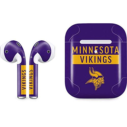 Skinit Decal Audio Skin for Apple AirPods with Wireless Charging Case - Officially Licensed NFL Minnesota Vikings Purple Performance Series Design