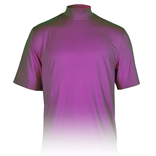 Monterey Club Mens Dry Swing X-Cool Oval Texture Mock Neck Shirt #3298 (Concord Grape, Large) (Concord Oval)