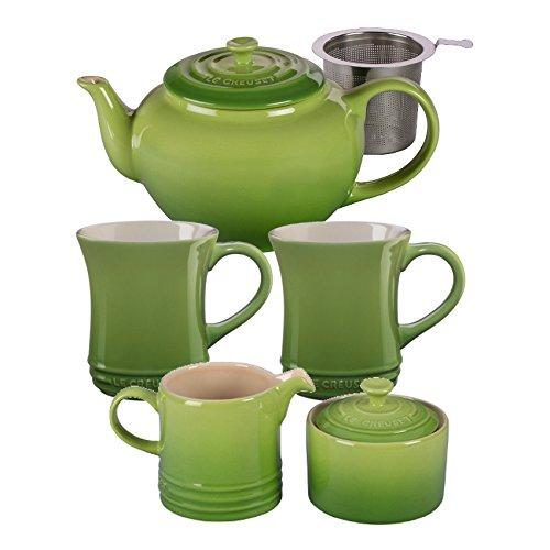 Le Creuset Palm Stoneware 5 Piece Teapot Service Set with Mu