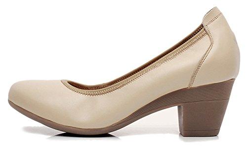 Fangsto Women's Genuine Leather Chunky Heel Pumps Slip ONS Apricot xVJcYB