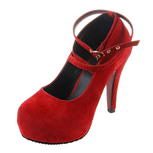 TOOGOO(R) Nuevos Zapatos de tacon alto de la mujer zapatos de boda con plataforma de moda los 11cm gamuza RojaUU.EE. 5 = EUR36 = longitud 23CM