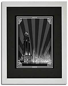 Address Hotel Down Town- Black And White With Silver Border No Text F02-m (a2) - Framed