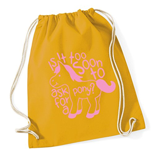 it 37cm Mustard pony too Drawstring a to Kid 46cm Gym School litres 12 HippoWarehouse Is soon x Cotton Sack for ask Bag 1an5zqW