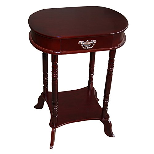 oval accent table home source industries af047 oval accent table with fauxdrawer and lower shelf mahogany amazoncom faux