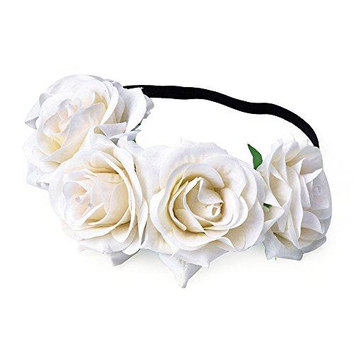 DreamLily Rose Flower Crown Wedding Festival Headband Hair Garland Wedding Headpiece (1-Ivory)]()