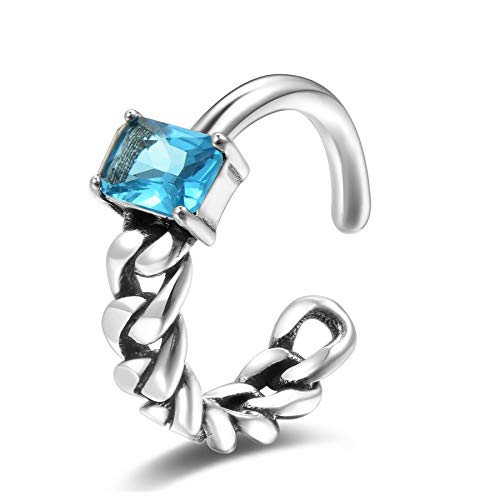 Vintage Princess Cut CZ Solitaire Ring Sterling Silver Braided Chain Link Adjustable Open Band Ring Cuff Knuckle Forefinger Mid Finger Rings for Women Size 4.5-7