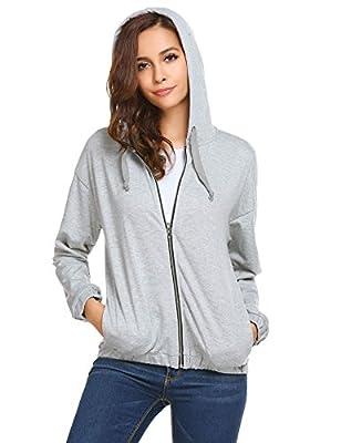 Zeagoo Women's Long Sleeve Full Zip Up Hoodie Sweatshirt with Drawstrings