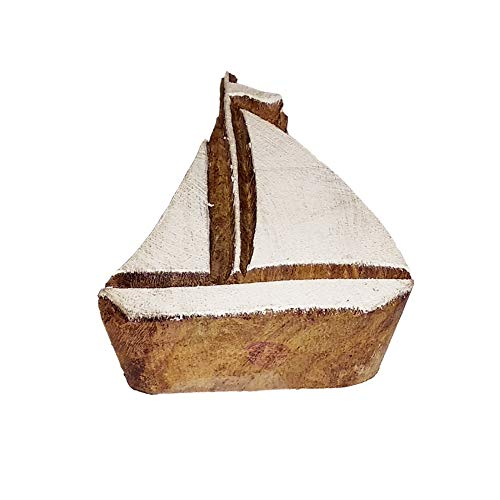 Henna Print Stamps Sail Boat Motif Wood Blocks - DIY Henna Fabric Textile Paper Clay Pottery Block Printing Stamp