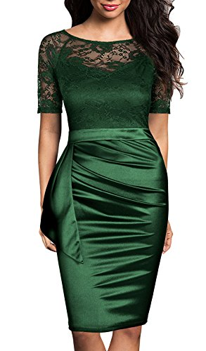 Mmondschein Women's Vintage Ruffles Short Sleeve Business Pencil Cocktail Dress (M, Green)