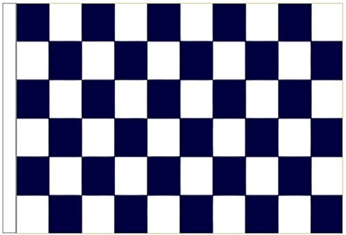 Navy Blue and White Check Sleeved Flag 3'x2' (90cm x 60cm) - Woven Polyester ()