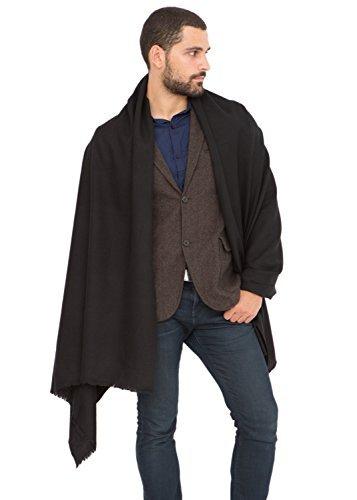 (likemary Mens Scarf Merino Wool Travel Blanket & Muffler Fairtrade Kasa Black)