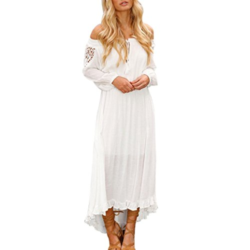 Price comparison product image Elogoog Women's Sexy Ruffles Lace Up Long Sleeve Off Shoulder Casual Loose Maxi Long Dress (White, L)