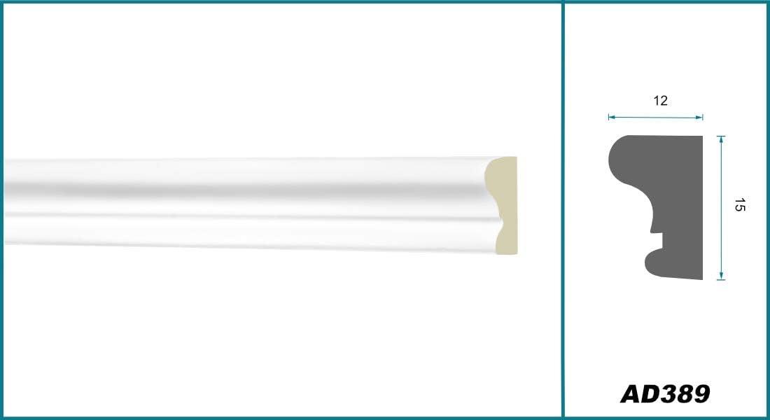 Stuckleiste aus PU glatt sto/ßfest 2 Meter Flachleiste 15x12mm wei/ß Flachprofil Dekorleiste Wandleiste Zierprofile AD389 Hexim Perfect