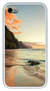 beach background Custom iPhone 4s/4 Case Cover TPU White Christmas gift