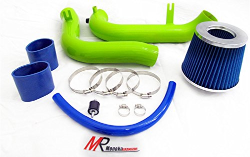 01 02 03 04 05 Honda Civic MT with 1.7L Engine (DX/LX/HX/EX/VP) GREEN Piping Cold Air Intake System Kit with Blue Filter (Green Filter Cold Air Intake)