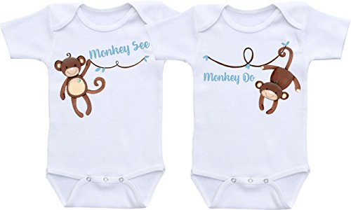 [Monkey See Monkey Do - Twin Bodysuit Twin Outfit Sets Gender Neutral Baby Clothes (18M Short Sleeve Bodysuit] (Monkey Outfits For Toddlers)
