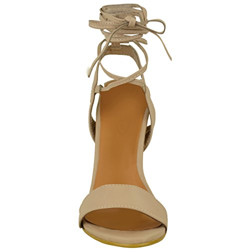 There Heels Tie Leather Nude High Fashion Sandals Faux Womens Size Barely Strappy Shoes Lace Up Thirsty xqfRBXAw1