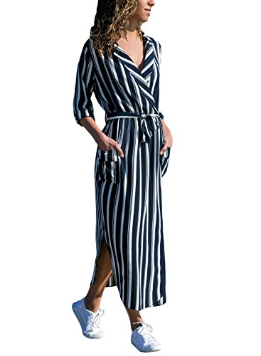 - HOTAPEI Women's Button up Striped Flowy Bohemian Long Maxi Chiffon Cardigan Shirt Dress 3/4 Sleeve with Belted,Large
