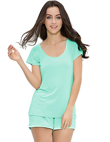 GYS Women's Bamboo Sleepwear Short Sleeve Crew Neck Pajama Set With Pj Shorts (Aqua, Pink, S-2XL) (M, Aqua Green)