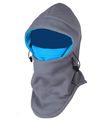 Purjoy Multipurpose Use 6 in 1 Thermal Warm Fleece Balaclava Hood Police Swat Ski Bike Wind Stopper Full Face Mask Hats Neck Warmer Outdoor Winter Sports Snowboarding Cap(Grey+Blue)