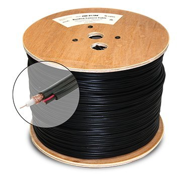 1000ft BLACK STEREN 200-917 SOLID COPPER CORE SIAMESE RG59 COAXIAL CABLE 20AWG 95%