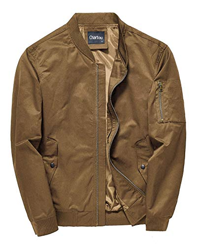 Chartou Men's Mid-Weight Flight Air Force Bomber Letterman Jacket Tactical Outwear (Small, Khaki)