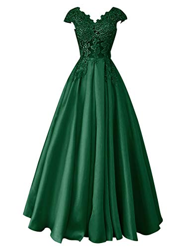 Evening Lace Dress Bridal Women Wedding Long Sleeves Bess Beaded Prom s Dark Green Cap azpWSq4