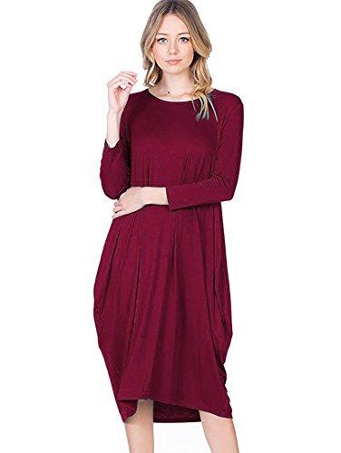 12 Ami Round Neck 3/4 Sleeve Tulip Hem Midi Dress Burgundy L