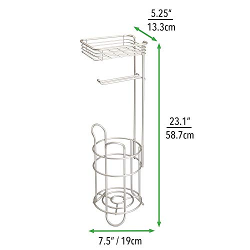 mDesign Freestanding Metal Wire Toilet Paper Roll Holder