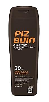 PIZ BUIN Allergy Sensitive Skin Sun Lotion LSF 30 / Feuchtigkeitsspendende Sonnencreme für Allergiker - gegen Hautirritationen / Wasserfeste Sonnenlotion für sonnenempfindliche Haut / 200ml