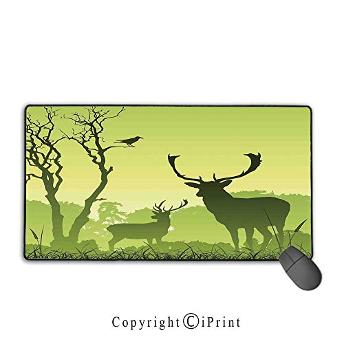 (Extended Mousepad with Durable Stitched Edges,Antlers Decor,Male Deer on a Meadow with Trees and Crow Bird Woodland Mist Rural Green Country,Premium Textured Fabric, Non-Slip Rubber Base,9.8