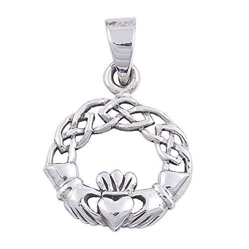 Braid Celtic Knot Claddagh Pendant .925 Sterling Silver Weave Crown Hands Charm