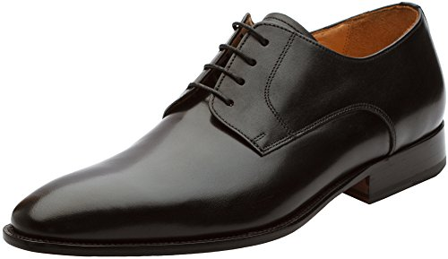 - 3DM Lifestyle Men's Plain Derby Calfskin Leather Lined Lace Up Oxford Dress Shoes Black