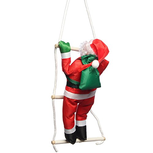 (Katoot@ Climbing Santa Claus With Rope Ladder Ornaments Pendant Christmas Tree Decorations For Home Party Favors Supplies New Year Gifts (400MM))